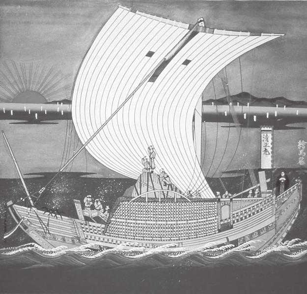 富山市森家の北前船は「菱垣廻船」で、船中央の菱垣... 富山市森家の北前船は「菱垣廻船」で、船中